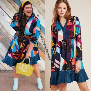 NWT ANTHROPOLOGIE Gillian Abstract Shirtdress